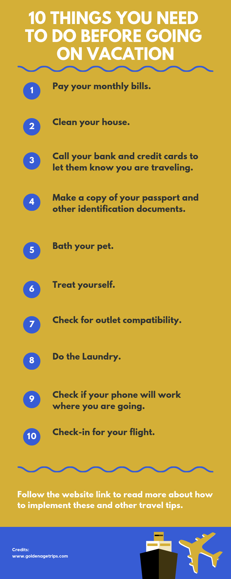 Most of the planning has ended, but it is still quite early to finish packing. What can you do in the meantime? Here are ten things you need to do before going on vacation while you wait for your journey to start.