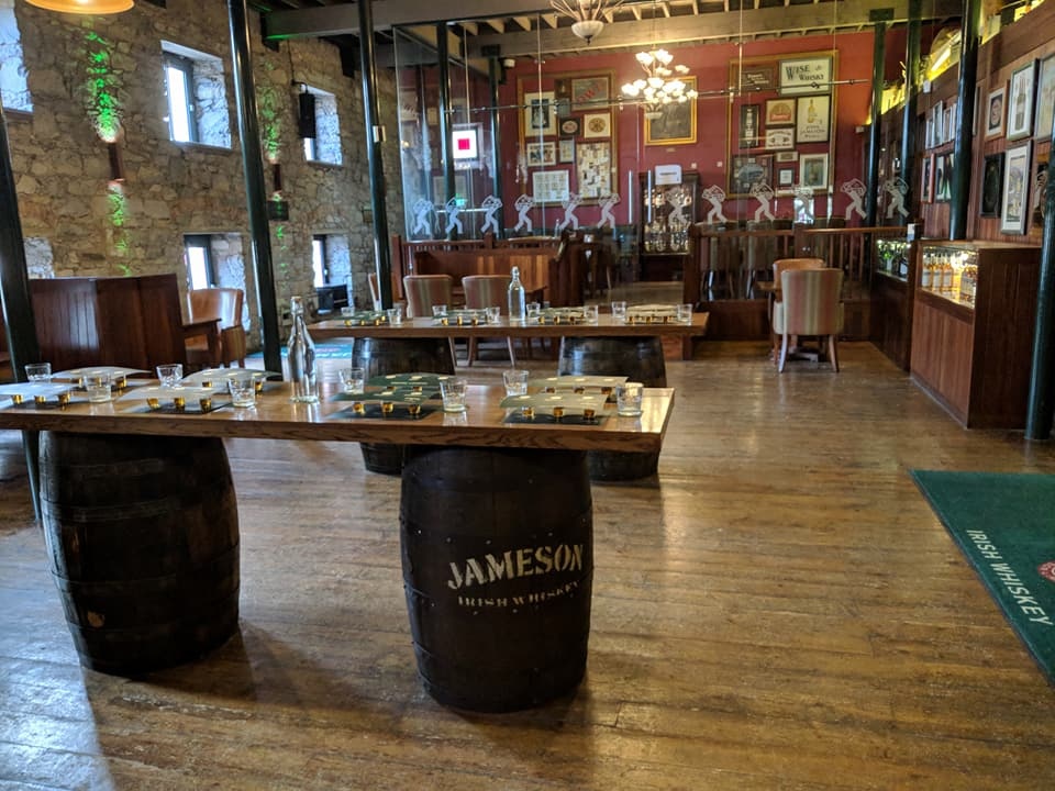 Tables with Jameson Whiskey and other types of whiskey ready for a taste panel