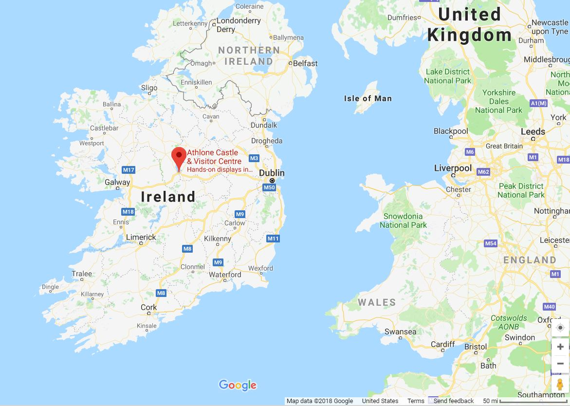 google maps ireland map pointing athlone castle
