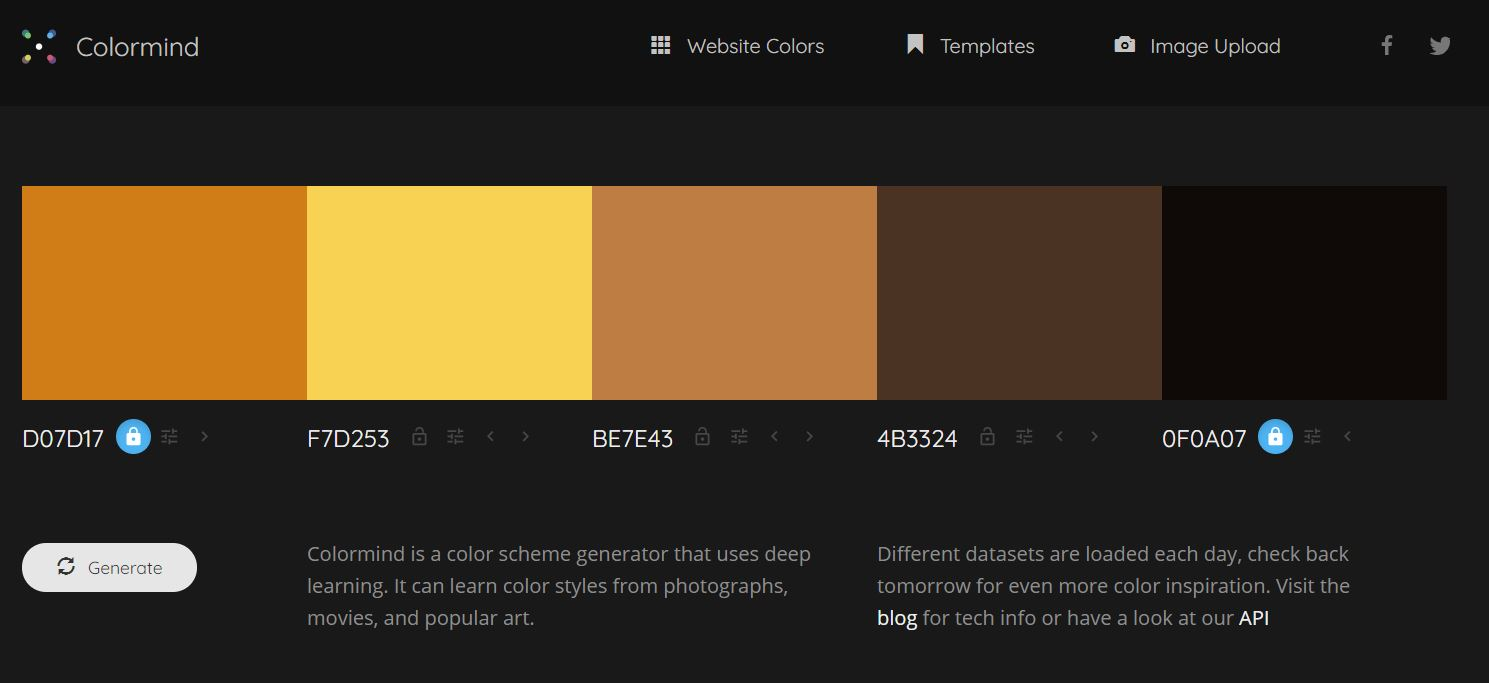 Colormind Website Screenshot with Halloween Palette
