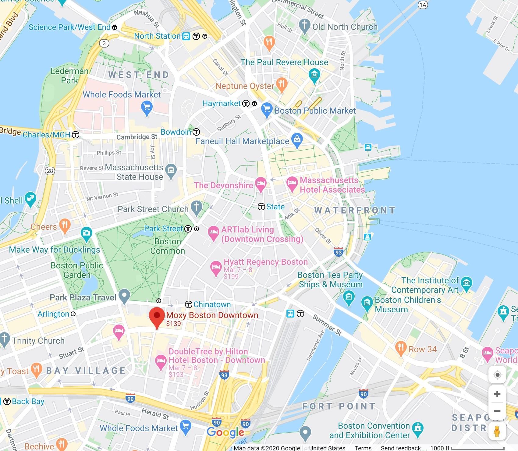 Moxy Bostown Downtown Google Maps Screenshot